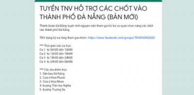 Thông báo tuyển tình nguyện viên các chốt vào TP Đà Nẵng tháng 3/2020
