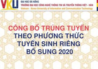 Công bố trúng tuyển theo phương thức tuyển sinh riêng bổ sung 2020